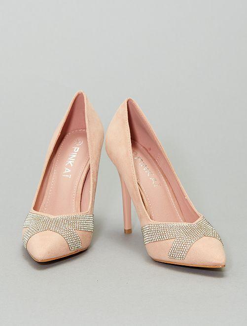 Zapatos de tacón de antelina                                         rosa