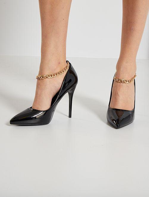 Zapatos de tacón de charol sintético                             NEGRO