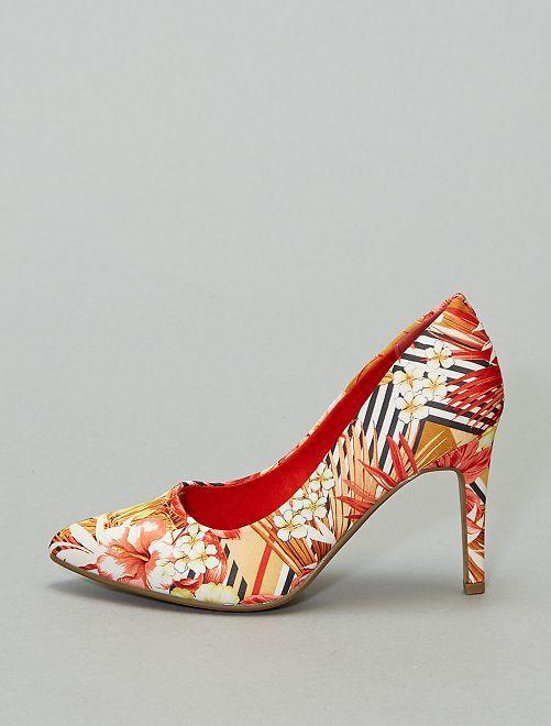 Zapatos de tacón de flores                             ROJO