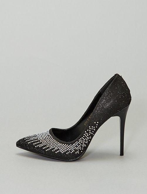 Zapatos de tacón de strass                             NEGRO