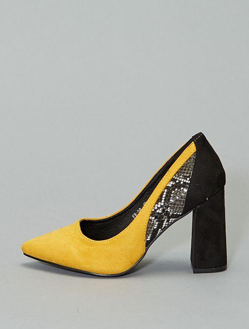 Zapatos de tacón dos materiales                             amarillo