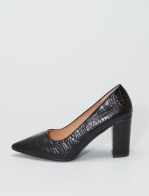 Zapatos de tacón efecto serpiente                             negro