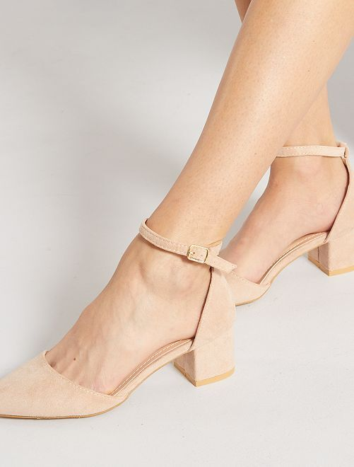 Zapatos de tacón semiabiertos de antelina                                                     BEIGE