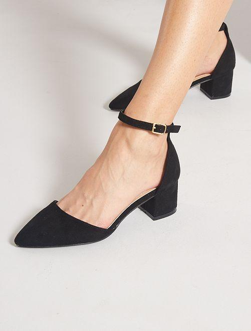 Zapatos de tacón semiabiertos de antelina                                         NEGRO