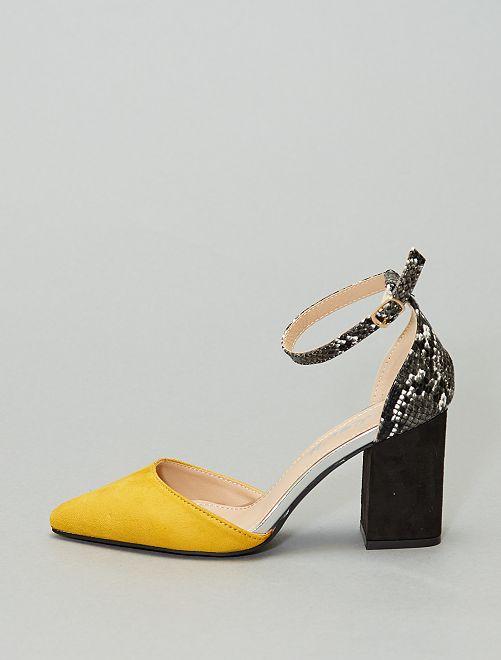 Zapatos de tacón semiabiertos en dos materiales                                         amarillo