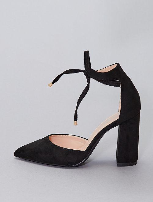 Zapatos de tacón semiabiertos                                         NEGRO