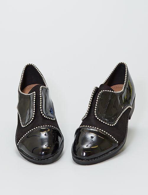 Zapatos derby con bolas plateadas de fantasía                             negro