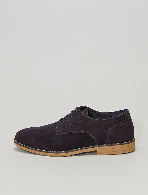Zapatos derby de antelina                             azul navy