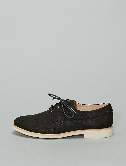 Zapatos derby de antelina con brillos                             negro