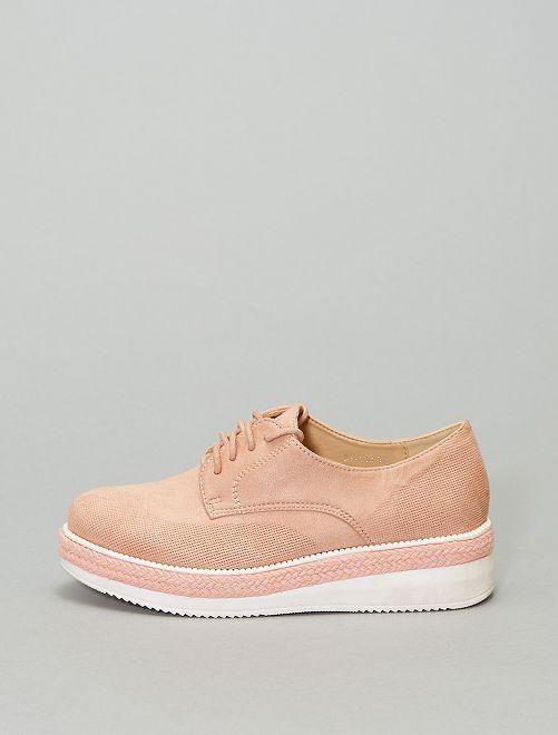 Zapatos derby de antelina                             rosa