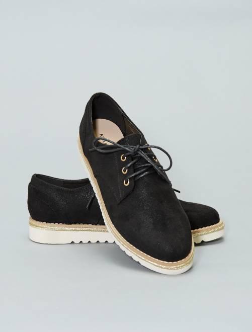 Zapatos derby de dos materiales                             negro