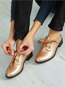 Zapatos con cordones - Zapatos derby de piel sintética dorada - Kiabi