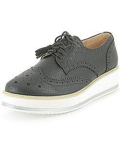 Zapatos con cordones - Zapatos derby de polipiel con plataforma - Kiabi