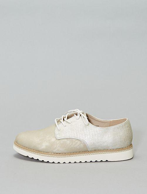 Zapatos derby efecto trenzado                                         blanco nieve