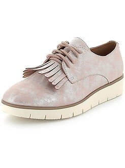 Zapatos mujer - Zapatos derby irisados con plataforma y flecos - Kiabi