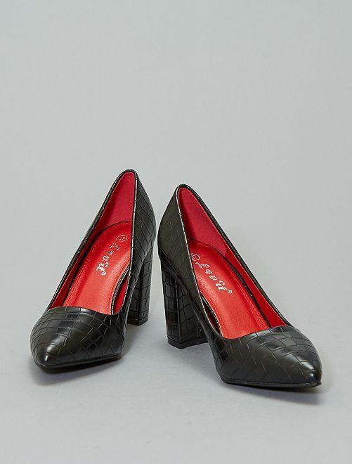 Zapatos tacón efecto 'piel de serpiente'                             negro