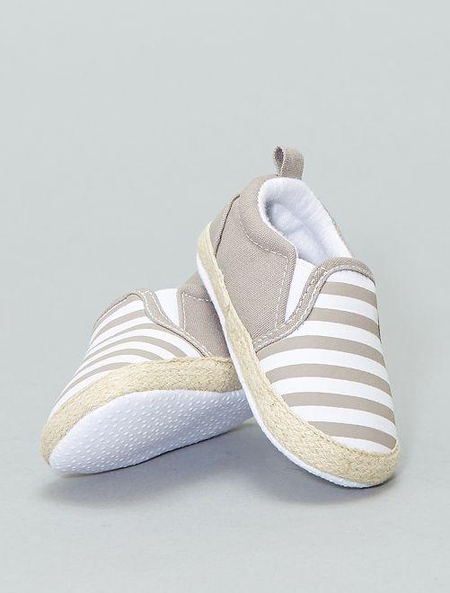 Zapatos tipo alpargatas de algodón                                         BEIGE